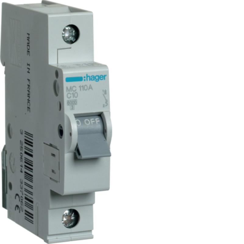 Автоматичний вимикач Іn=10A, 1п, С 6кА hager