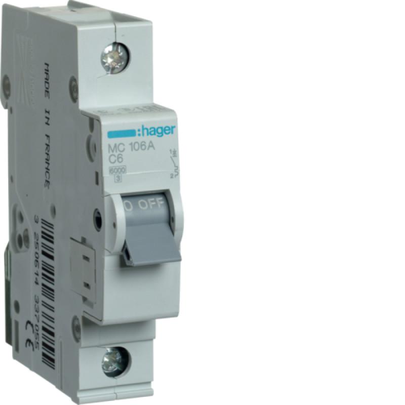 Автоматичний вимикач Іn=6A, 1п, С 6кА hager