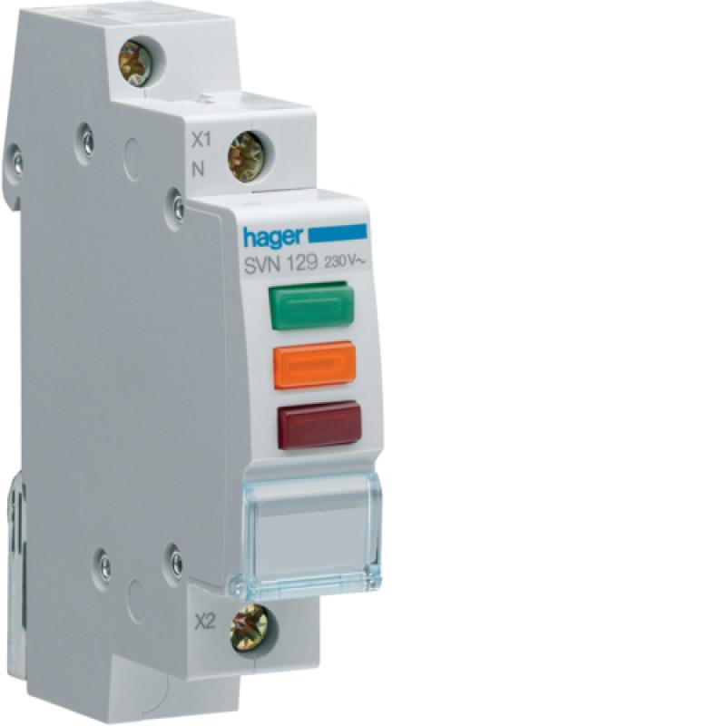 Індикатор потрійний LED, 230В, червоний-зелений-помаранчовий, 1м hager