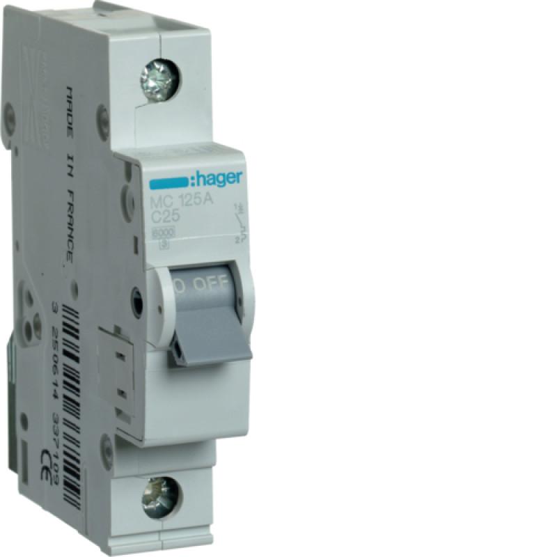 Автоматичний вимикач Іn=25A, 1п, С 6кА hager