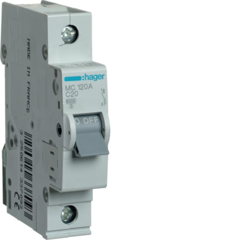 Автоматичний вимикач Іn=20A, 1п, С 6кА hager
