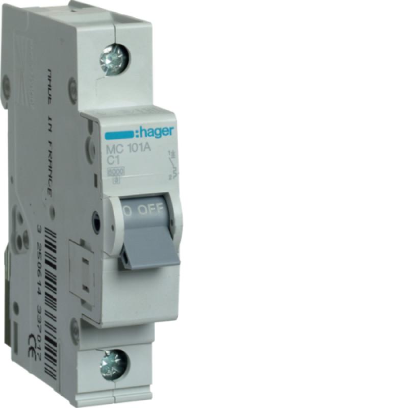 Автоматичний вимикач Іn= 1A, 1п, С 6кА hager