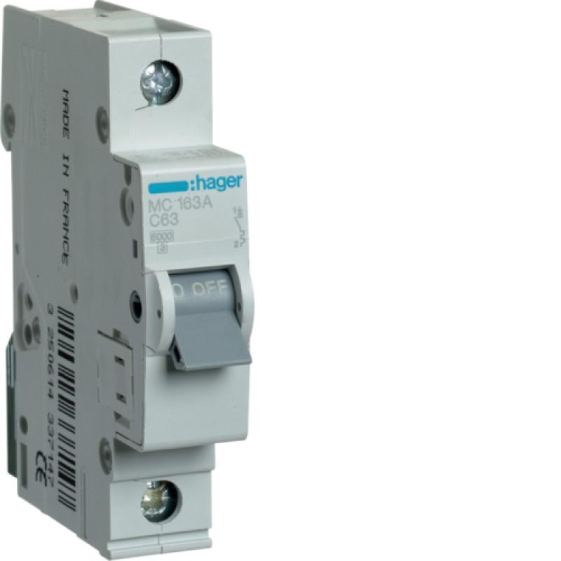 Автоматичний вимикач Іn=63A, 1п, С 6кА hager