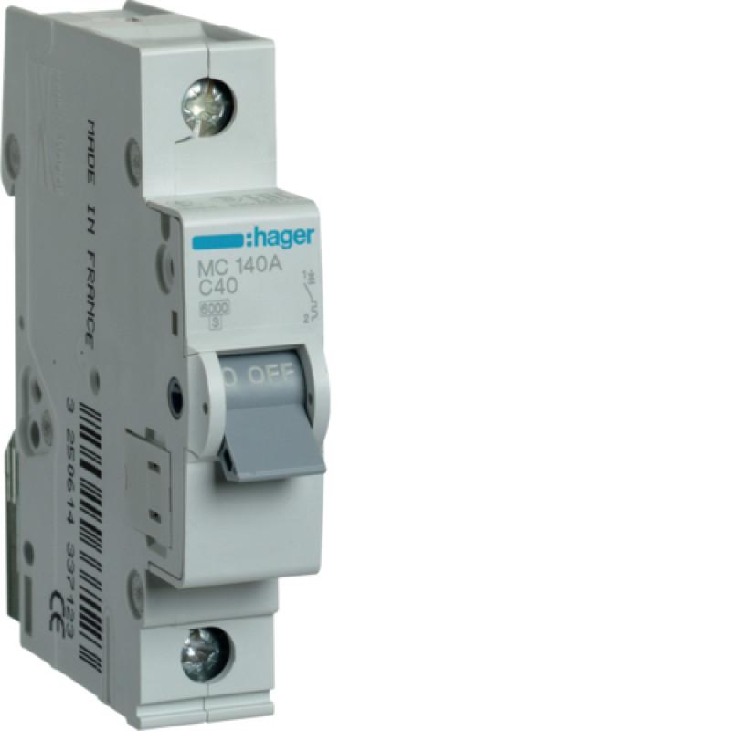 Автоматичний вимикач Іn=40A, 1п, С 6кА hager