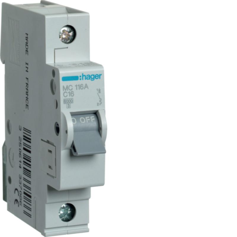 Автоматичний вимикач Іn=16A, 1п, С 6кА hager