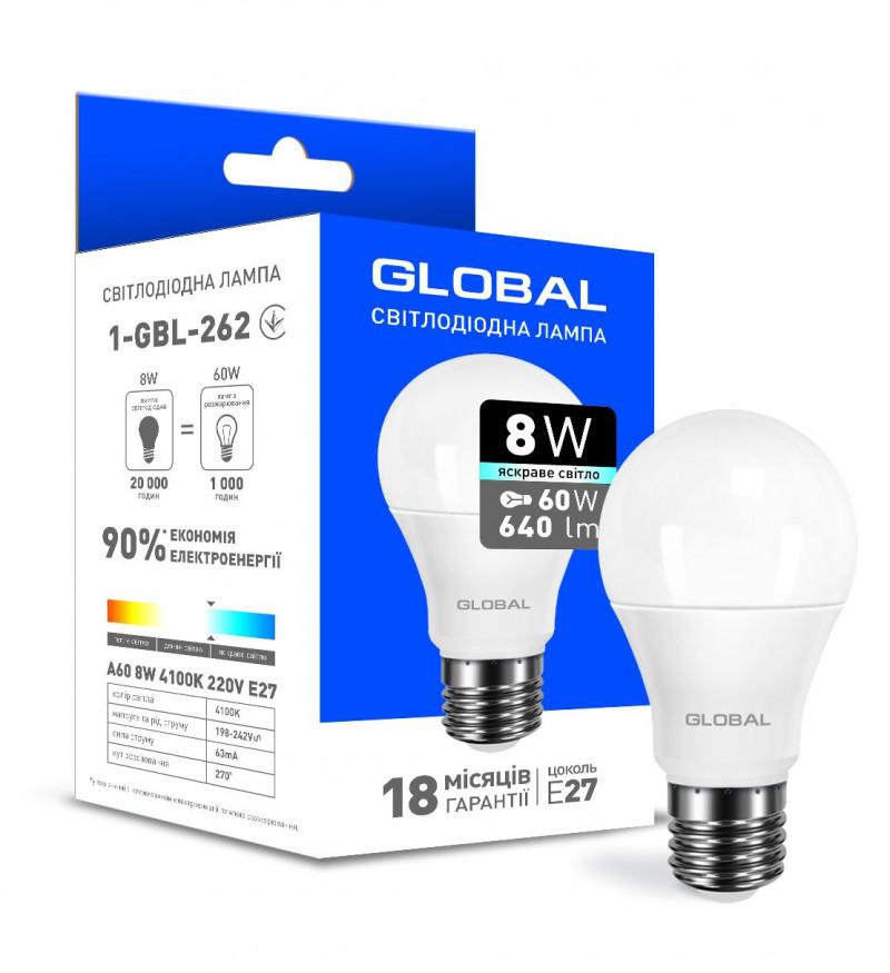 LED лампа Global A60 8W яскраве світло E27