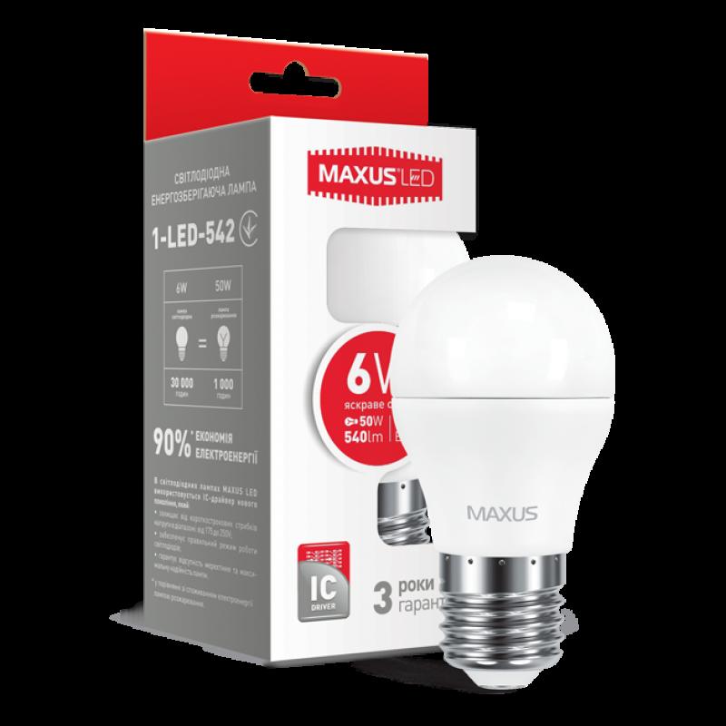 LED лампа Maxus G45 6W яскраве світло E27