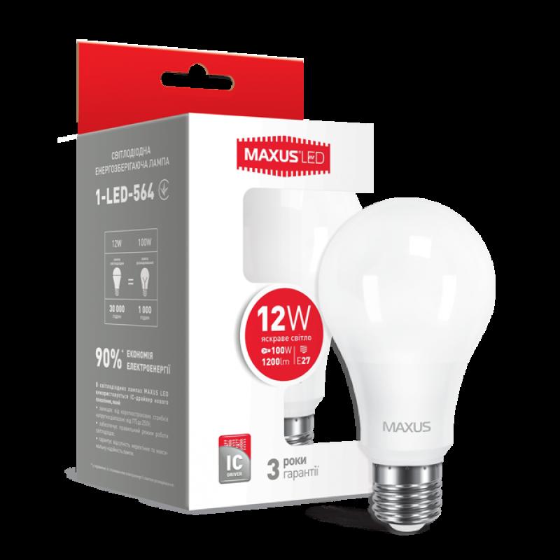 LED лампа Maxus A65 12W яскраве світло E27