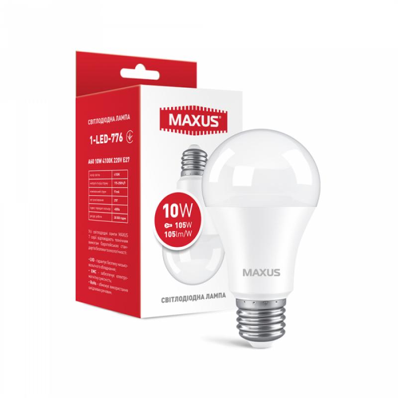 LED лампа Maxus A60 10W яскраве світло E27