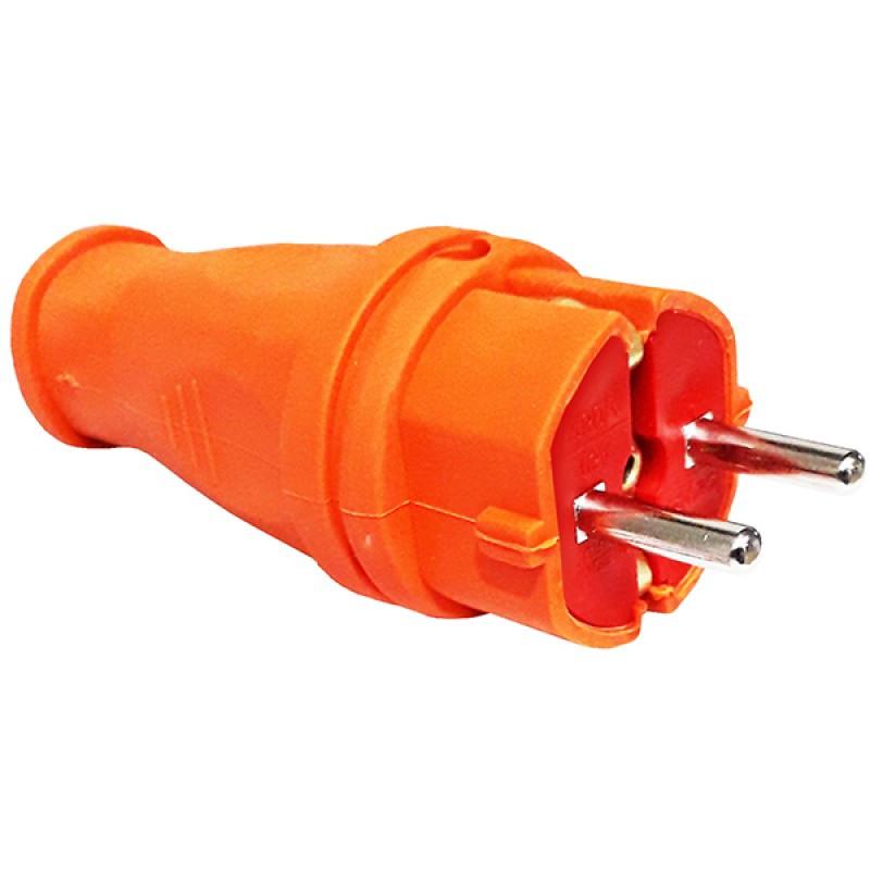 Вилка з/з пряма каучук 16А оранж. Bemis