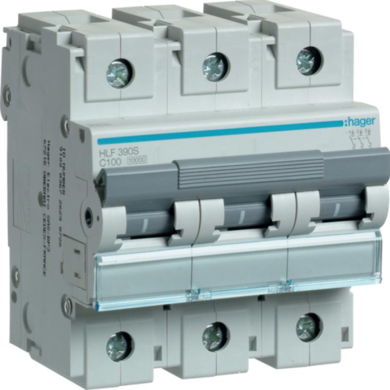 Автоматичний вимикач In=100 А, 3п, С, 10 kA, 4,5м hager