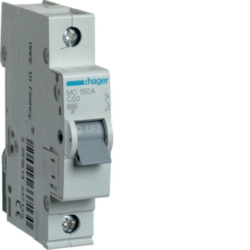 Автоматичний вимикач Іn=50A, 1п, С 6кА hager