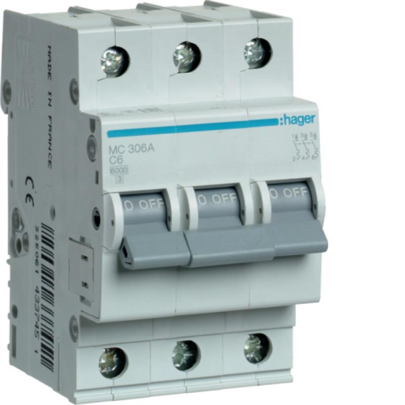 Автоматичний вимикач Іn=6A, 3п, С 6кА hager