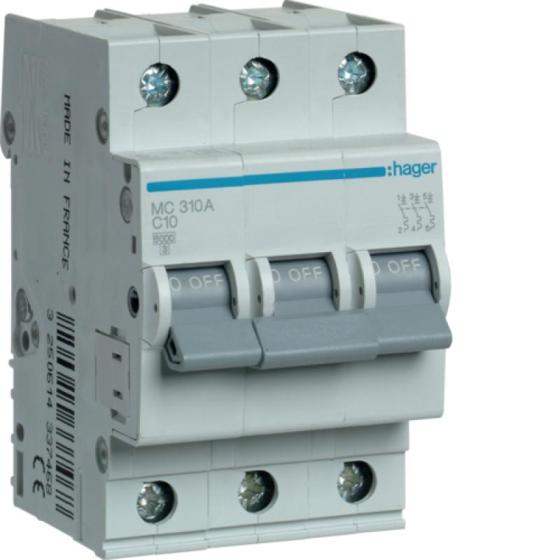 Автоматичний вимикач Іn=10A, 3п, С 6кА hager