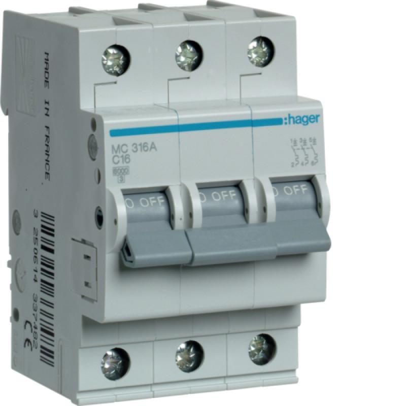 Автоматичний вимикач Іn=16A, 3п, С 6кА hager