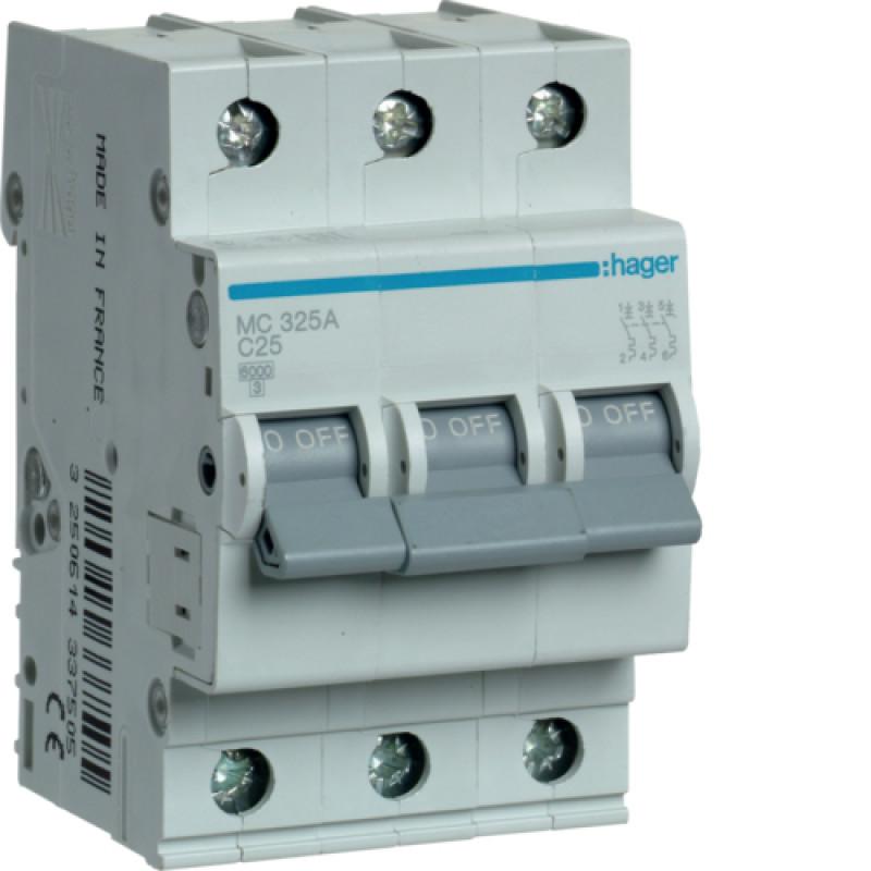 Автоматичний вимикач Іn=25A, 3п, С 6кА hager