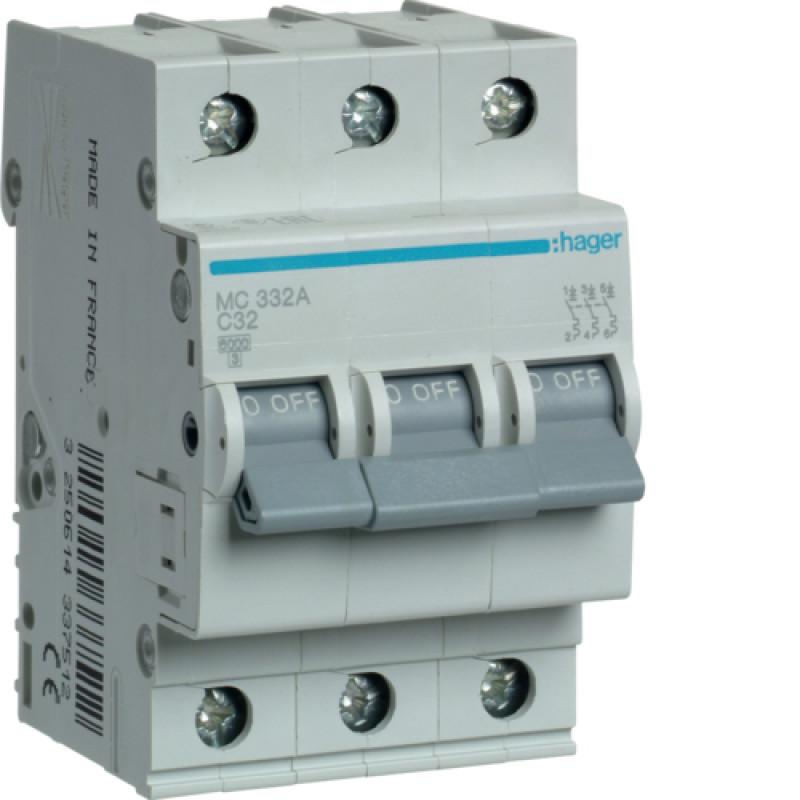Автоматичний вимикач Іn=32A, 3п, С 6кА hager