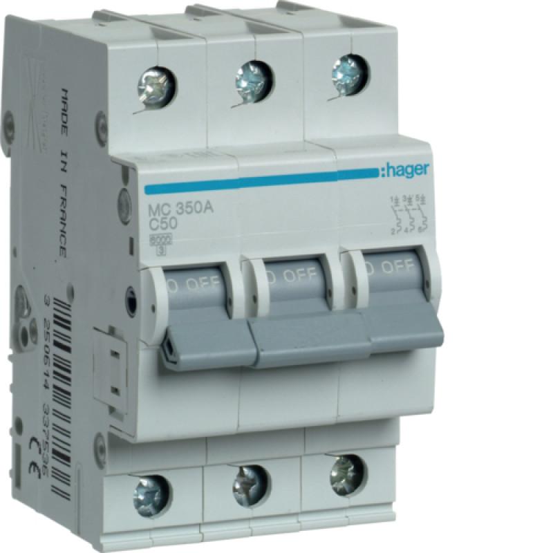 Автоматичний вимикач Іn=50A, 3п, С 6кА hager