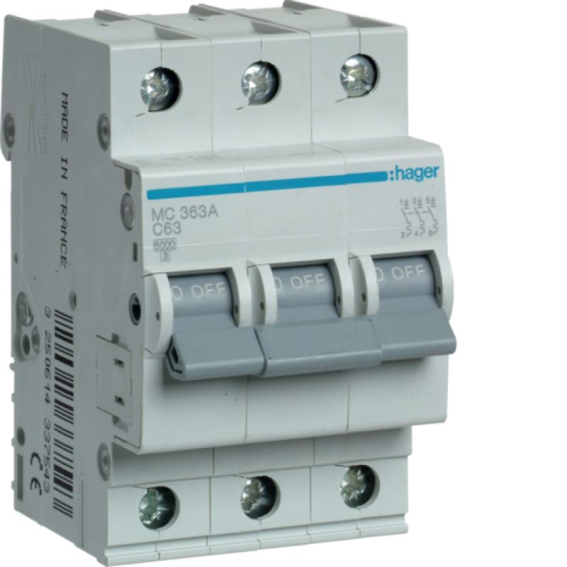 Автоматичний вимикач Іn=63A, 3п, С 6кА hager