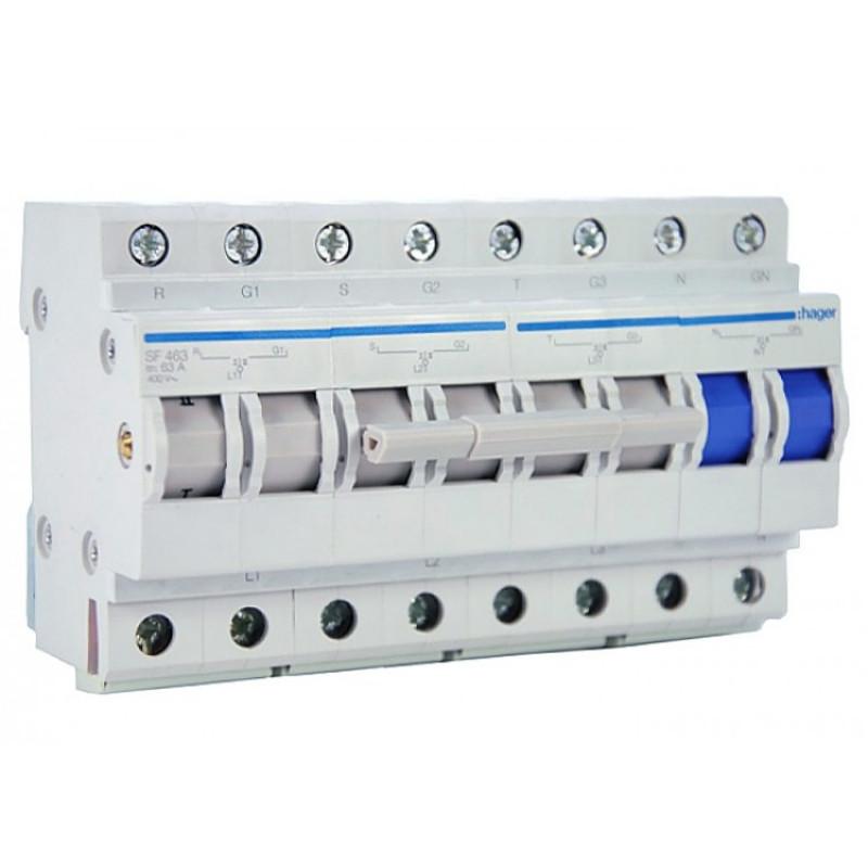Перемикач вводу резерва, 400В/63A, 3+N, 8м hager