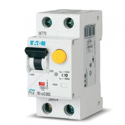 Диф. автомат EATON PFL6-C10/1N/003
