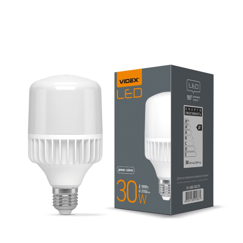 Лампа VIDEX A80 30W E27 5000K 220V