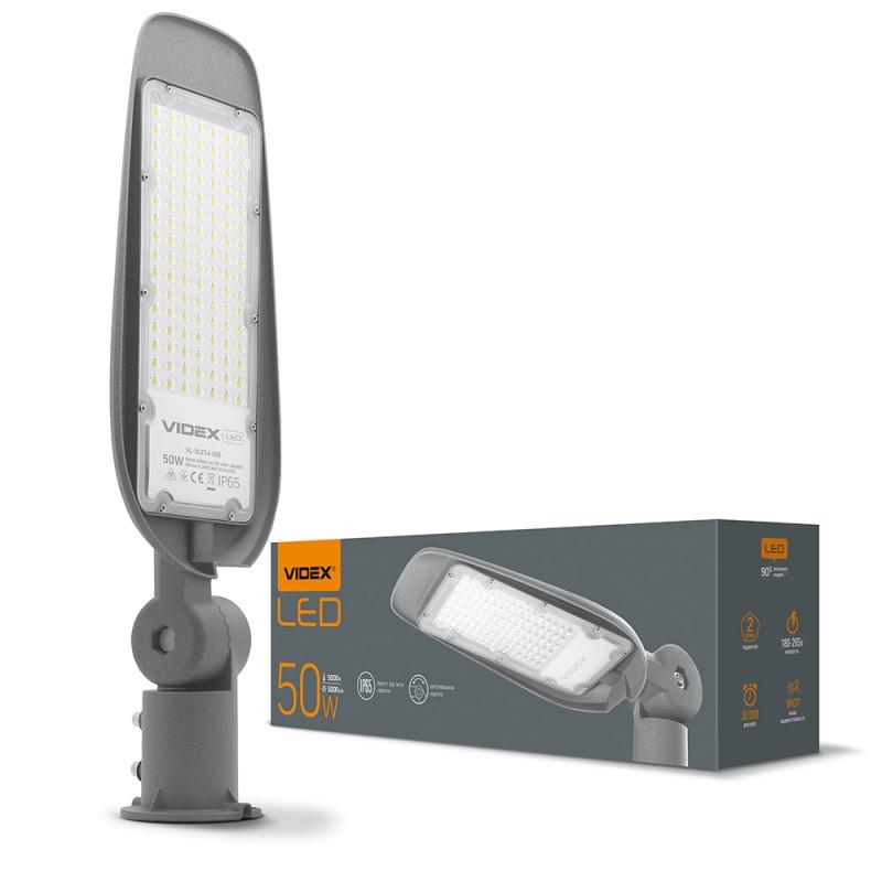 LED вуличний ліхтар VIDEX (поворотний) 50W 5000K Сірий